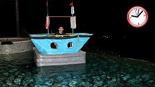 SCARY OVERNIGHT CHALLENGE ALONE IN A BOAT!! (WTF)