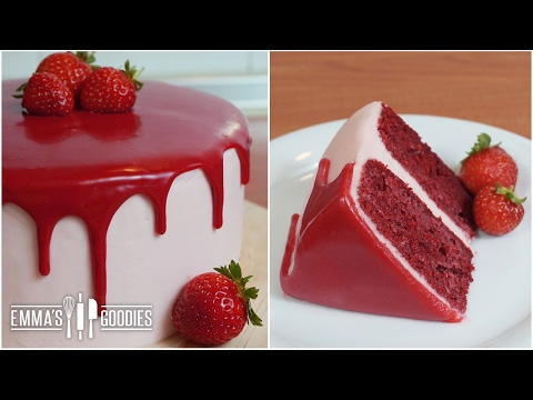 Video Red Velvet Cake Recipe with Cream Cheese Frosting ( Drip Cake )