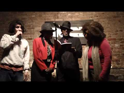 Collaborative reading of a Deborah Collage Grison poem @ the NYC Open Mic Joint