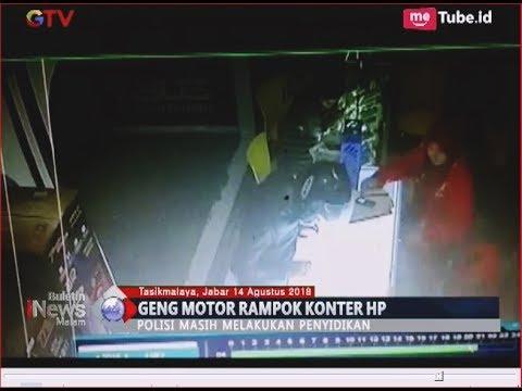 Rekaman CCTV Geng Motor di Tasikmalaya Rampok Konter HP - BIM 14/08