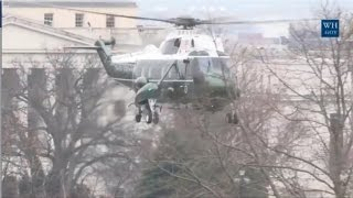 Obama Departs White House On Marine Helicopter After Trump Inauguration