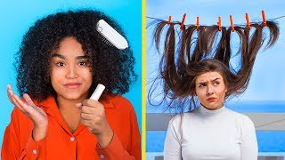 مشاكل الشعر القصير ضد الشعر الطويل / مشاكل شعر كيرلي مضحكة وابتكارات حياة