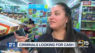 Authorities searching for suspects in Phoenix armed robberies