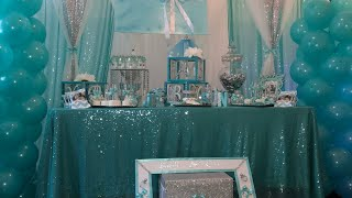 Babyshower Centerpiece/ Dollar Tree Picture Frames/Tiffany & Co Theme Candy Table/Dollar Tree DIY
