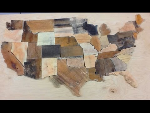 DIY USA scroll saw pallet wood puzzle wall art