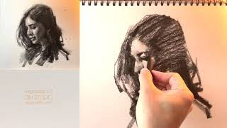 👩‍🎨Expressive Charcoal Drawing Demo: Portrait.