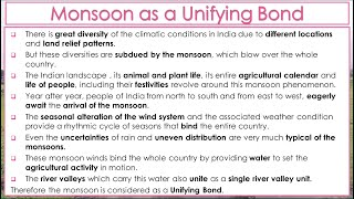 Why is Monsoon Considered a Unifying Bond? Class IX Unit - 4