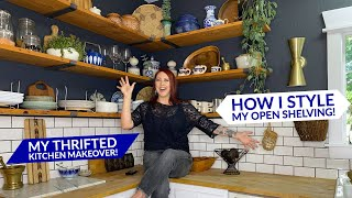 KITCHEN MAKEOVER! How To Style Your Kitchen Open Shelving | My Thrifted & DIY Kitchen Makeover!