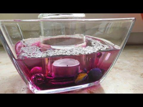 Zimmer Deko aus Glas | Tischdeko mit Kerzen & Wasser | Super einfach in Pink & Glitzer