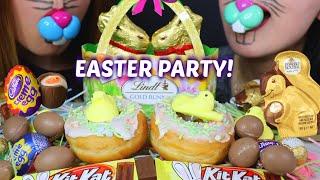 ASMR EASTER PARTY! (CHOCOLATES, DONUTS, PEEPS) 초콜릿 리얼사운드 먹방 チョコレートcoklat चॉकलेट | Kim&Liz ASMR
