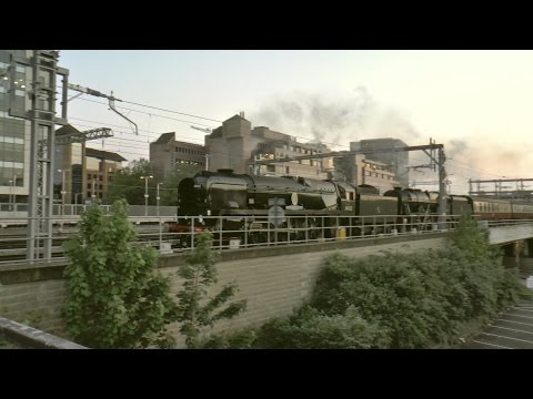 34052 'Lord Dowding' & 46100 'Royal Scot' at Reading with 'T…