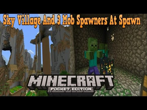 4 VILLAGES w/ Mob Spawners & Sand Temples!! Minecraft PE