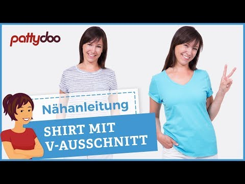 Anleitung Damen T-Shirt mit V-Ausschnitt und Ärmel-Aufschlag nähen