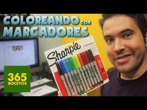 COLOREANDO CON MARCADORES SHARPIE - MATERIALES DE ARTE  -  Sharpie Unboxing y Review