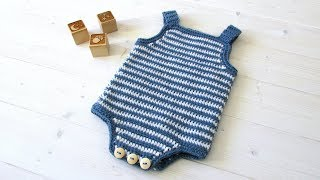 How To Crochet A Simple Striped Baby Romper