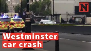 Armed Police Respond To Car Crash Outside U.K. Parliament