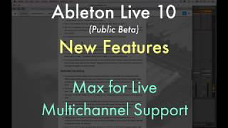 Ableton Live 10 (Beta) - Multichannel Max for Live Support