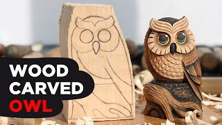 Owl Wood Carving Time Lapse POV | Wood Carved Owl From Basswood