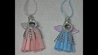 DIY~Sparkly Felt Tassel Angel Ornaments! Easy!