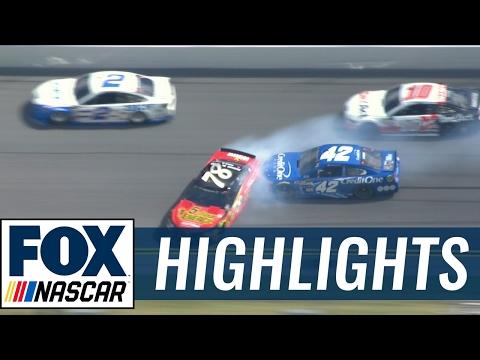 Truex and Buescher Wreck Late | The Clash 2017 | NASCAR ON FOX