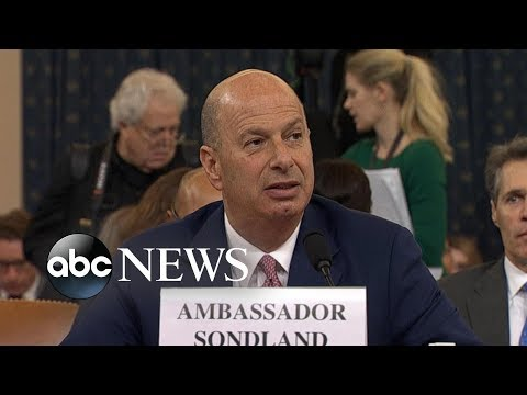 Amb. Gordon Sondland delivers opening statement at House Impeachment hearing   ABC News