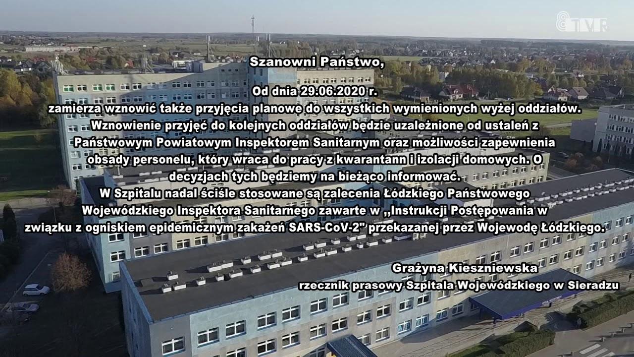 Komunikat Szpitala Wojewódzkiego w Sieradzu – 25.06.2020