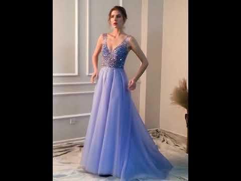 A Linie Abendkleid Abiballkleider V Ausschnitt Rückenausschnitt Lang Hellblau Tüll Perlen