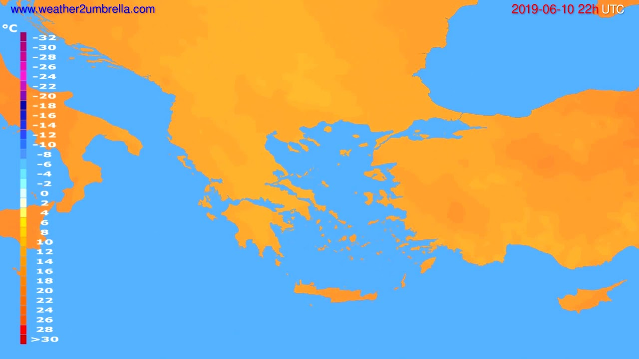 Temperature forecast Greece // modelrun: 00h UTC 2019-06-08