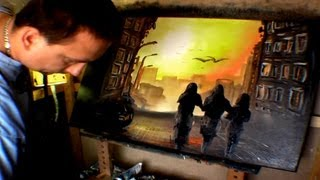 """""""Sunrise Walk Downtown"""" Paint Along Speed Painting With Oils by Jarduli How To Video"""