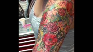 Gigantic Colorful Watercolor Tattoo Sleeve On Girl