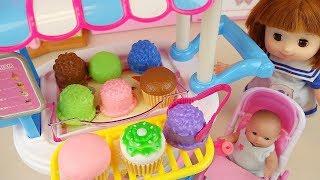 Baby doll Cake cart Ice cream cake shop play Doli house