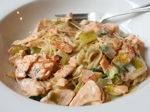 Creamy Salmon Leek Pasta - Easy Spring Seafood Pasta Sauce Recipe