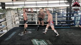 2 Muay Thai Fighters vs. 1 Giant | Strategy Analysis Parody