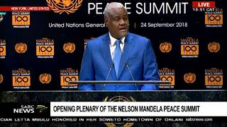 Moussa Faki Mahamat addresses the N Mandela Peace summit at UNGA | Kholo.pk