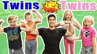Twin Boys VS Twins Girls In Ninja Course Challenge! Ninja Kidz TV And Kids Fun TV Together!