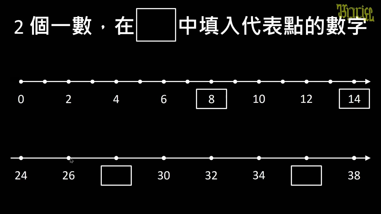 【例題】2 個一數。填入數線中的數字   整數數線   均一教育平臺