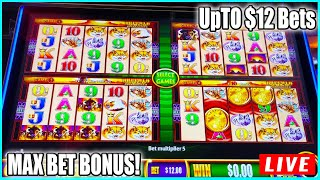 $12 BET MAX BET BONUS! Woder 4 Buffalo Gold Slot Machine Live Play at The Casino