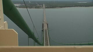 Climbing To Top Of Mackinac Bridge