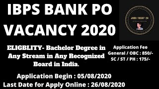 IBPS Bank PO Vacancy 2020 #govtjobs #Sarkarinaukri You are graduate then apply online. 2020
