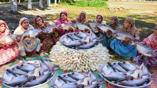 80 KG 27 Pieces Of Pangas Fish & 80KG Raddish Mixed Curry Cooking By Women - Delicious Catfish Curry