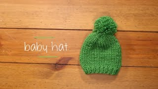 Knit Baby Hat with pattern | 1 Hour Knitting Project Knitting Tutorial with Stefanie Japel