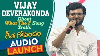 Vijay Deverakonda Reaction To 'What The F' Song Trolls At Geetha Govindam Audio Launch | Rashmika