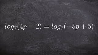 Learn how to use the one to one property of logarithms to help solve an equation