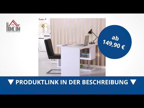 Homcom Computertisch Hochglanz Schreibtisch Eckschreibtisch weiss - direkt kaufen! - Aosom.de