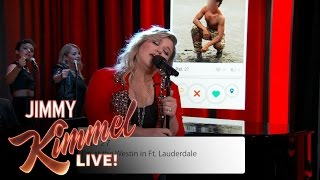 Kelly Clarkson Sings Tinder Profiles