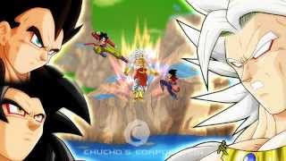 goku ssj4 and vegeta ssj4 vs broly ssj 5