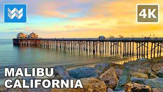 Malibu Beach Pier in California USA – 2021 Sunset Walking Tour!