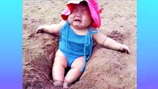 Try Not To Laugh : Funny Babies FAILS on the Beach | Funny Videos