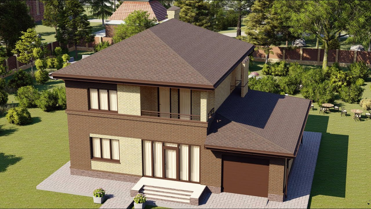Проект газобетонного дома с балконом и гаражом 163 м2
