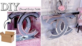 DIY ENTRYWAY TABLE WITH CARDBOARD! CHANEL ENTRY TABLE| DESIGNER'S CHOICE| DIY GLAM TRANSFORMATION